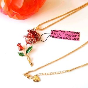 NEW BJ Necklace Crystal Rose Pendant Chain